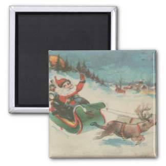 Vintage Santa's Sleigh and Reindeer 2 Inch Square Magnet