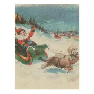Vintage Santa's Sleigh and Reindeer Postcard