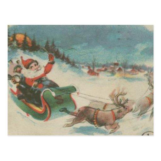 Vintage Frohe Weihnachten Christmas Santa German Postcards