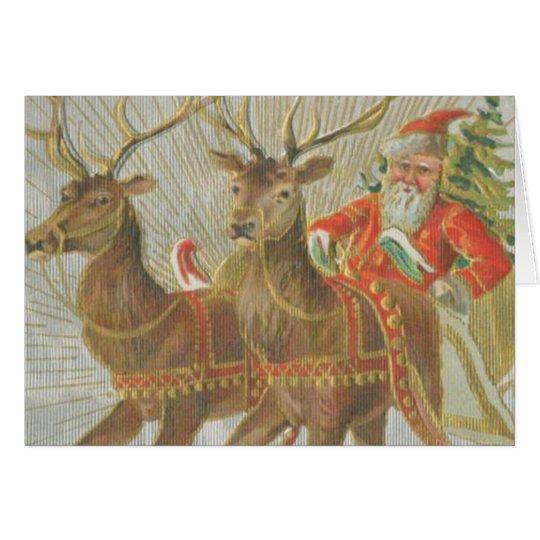 Vintage Santa's Sleigh Card
