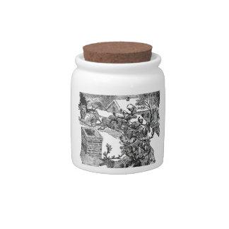 Vintage Santa's Sleigh Illustration Candy Jar