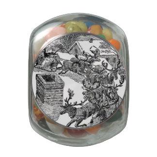 Vintage Santa's Sleigh Illustration Jelly Belly Candy Jar