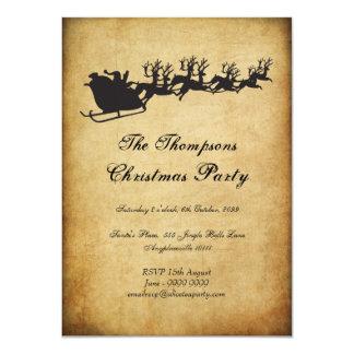 Vintage Santa's Sleigh Reindeer Christmas Party Card