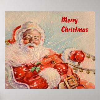 Vintage Santas Sleigh Ride Canvas Print