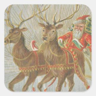 Vintage Santa's Sleigh Square Sticker