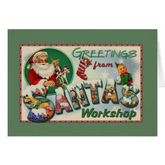Vintage Santa's Workshop Christmas Greeting Card