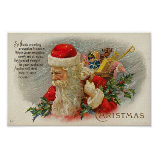 Vintage Sants Christmas St. Nick Card Poster
