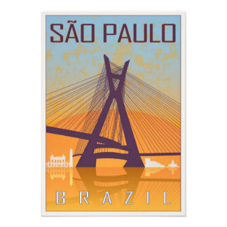 Vintage Sao Paulo poster Photo Print