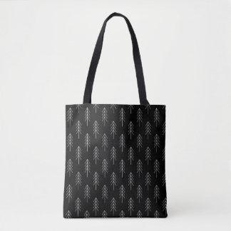 Vintage Sapling Patterned Black Tote Bag