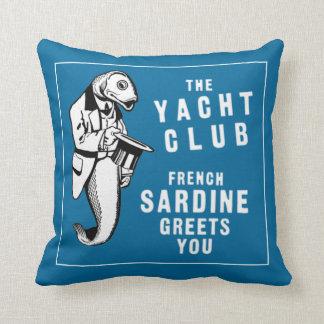 Vintage Sardine Fish Yacht Club Ad Throw Pillows