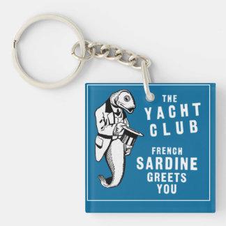 Vintage Sardine Fish Yacht Club Advertisement Keychain