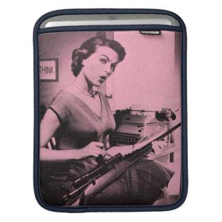 Vintage Sassy Secretary Apple iPad Sleeve (Pink)