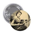 Vintage Sassy Secretary Rifle Gun Fashion Button