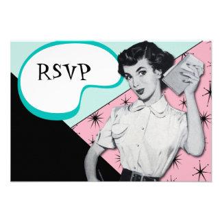 Vintage Sassy Secretary RSVP Card Custom Invites