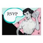 "Vintage Sassy Secretary RSVP Card 3.5"" X 5"" Invitation Card"