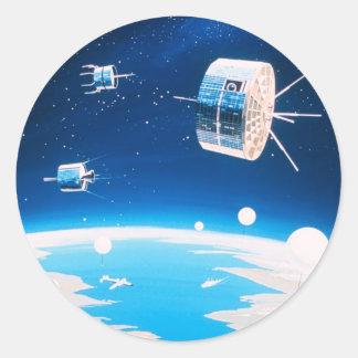 Vintage Satellite illustration Classic Round Sticker