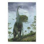 "Vintage Sauroposeidon Dinosaur with Birds Flying 3.5"" X 5"" Invitation Card"