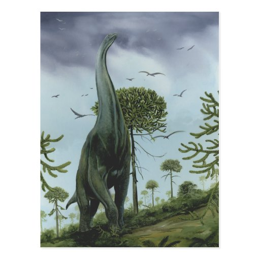 Vintage Sauroposeidon Dinosaur with Birds Flying Postcard