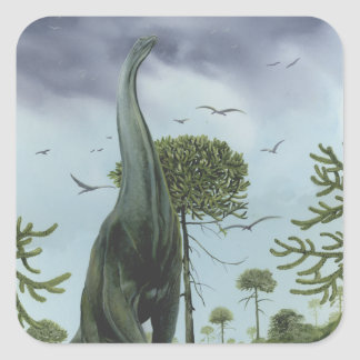 Vintage Sauroposeidon Dinosaur with Birds Flying Square Sticker