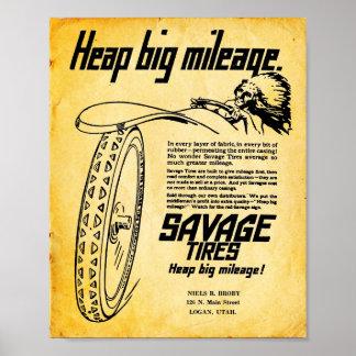 Vintage Savage Tire Print Sign