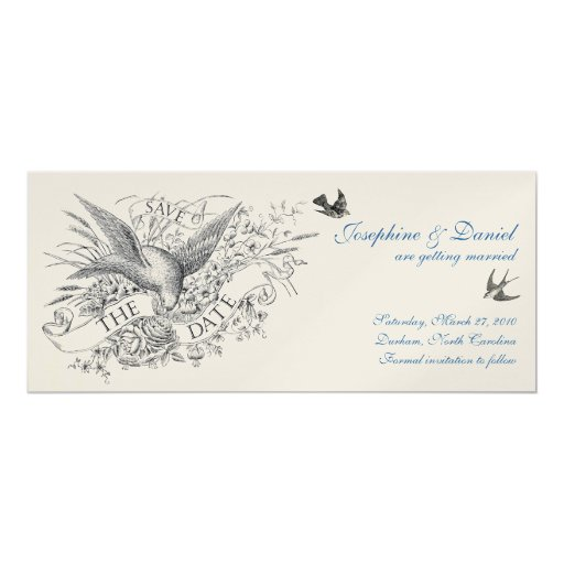 """Vintage Save the Date 4"""" X 9.25"""" Invitation Card"""