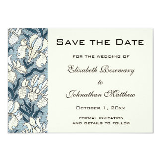Vintage Save the Date, Art Nouveau Iris Flowers Card