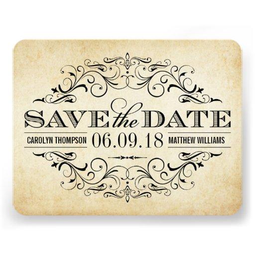 Vintage Save the Date Card | Elegant Flourish