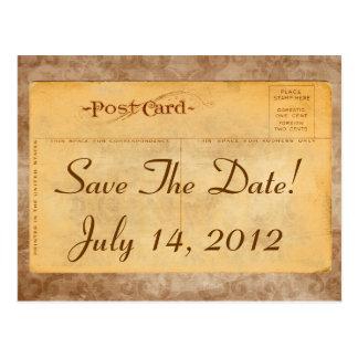 Vintage Save The Date! Damask Invitation Postcards