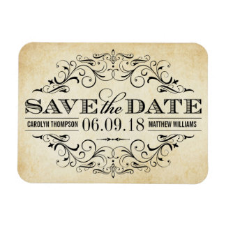 Vintage Save the Date | Elegant Flourish Magnet