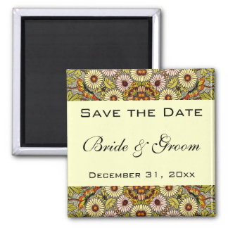 Vintage Save the Date Garden Flowers Butterflies Magnet