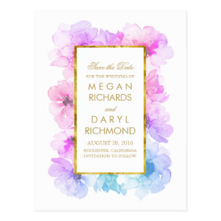 Vintage Save the Date- Gold and Blue Purple Floral Postcard