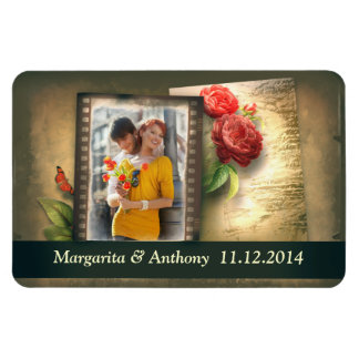 vintage save the date magnet with your photo