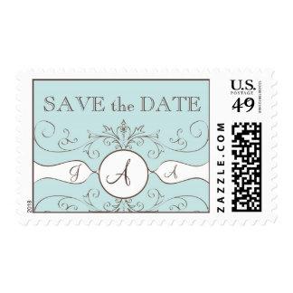 Vintage Save the Date Monogram Wedding Postage