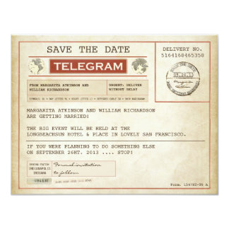 vintage save the date old telegrams 4.25x5.5 paper invitation card