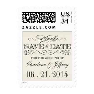 Vintage Save the Date Personalized Postage