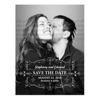 Vintage Save the Date Photo Postcard Bottom Text