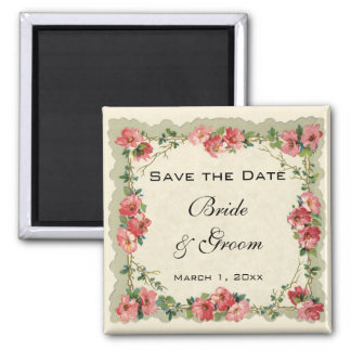 Vintage Save the Date, Pink Flowers Floral Roses 2 Inch Square Magnet