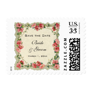 Vintage Save the Date, Pink Flowers Floral Roses Stamps