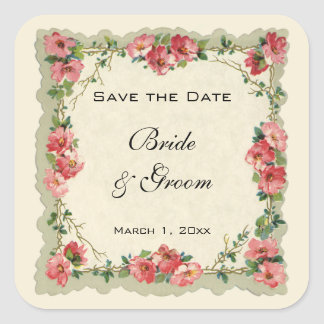 Vintage Save the Date, Pink Flowers Floral Roses Square Sticker