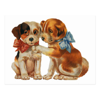 Vintage Save the Date, Puppy Love, Dogs with Bows Post Card
