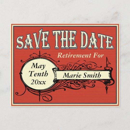 vintage save the date retirement announcement postcard zazzle com