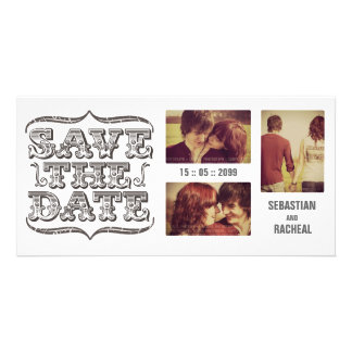 Vintage Save the Date Typography Photo Card