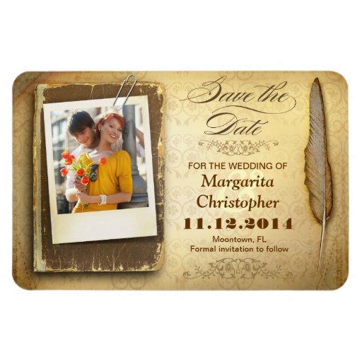 vintage save the date unique photo magnets