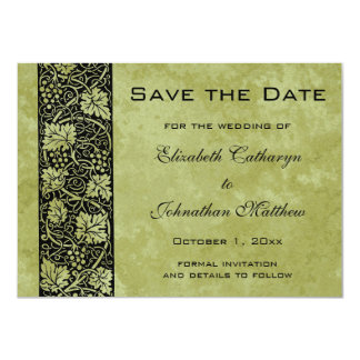 Vintage Save the Date, Victorian Grape Vine Leaves Card