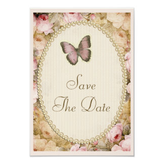 Vintage Save The Date Wedding Roses & Butterfly Card