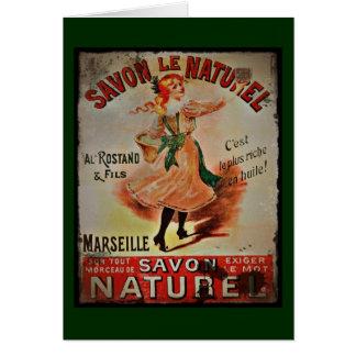 Vintage Savon Naturel Greeting Card