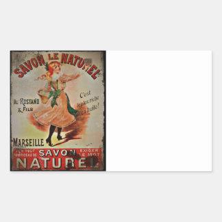Vintage Savon Naturel Rectangular Stickers