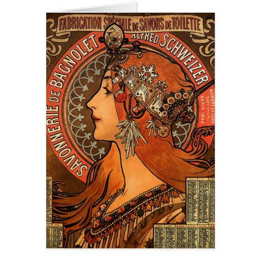 Vintage Savonnerie de Bagnolet de Alfons Mucha Felicitacion