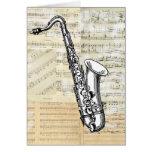 Vintage Saxophone Music Card