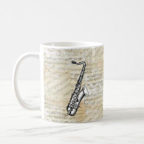 Vintage Saxophone Music Mug